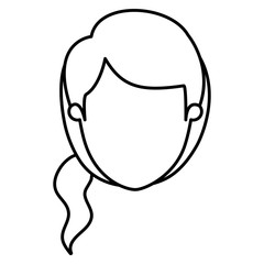 silhouette image caricature front view faceless woman with ponytail side hairstyle vector illustration