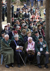 Korean War veterans from Canada and their family members take part in the Gloster Valley memorial service in Paju