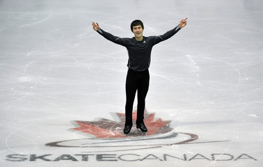 Patrick Chan of Canada skates during the practice session at Skate Canada International in Mississauga