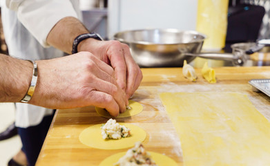 chef making ravioli