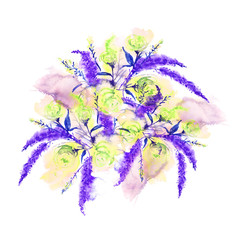 Watercolor greeting card with flowers. A vintage drawing of yellow, green roses, Purple lavender, field and gardening flowers in a bunch. On an isolated background