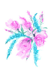 Watercolor greeting card with flowers. A vintage drawing of pink roses, blue lavender, field and gardening flowers in a bunch. On an isolated background