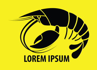 Crayfish Flat Icon on yellow Background