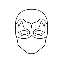 monochrome contour of faceless man superhero masked with mask shape of flame around the eyes vector illustration