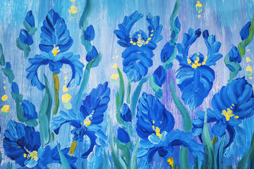 Oil painting of beautiful flowers