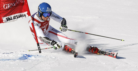 Raich of Austria skis during the first leg in the Men's World Cup Slalom skiing race in Val d'Isere