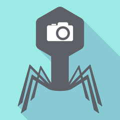 Long shadow virus with a photo camera