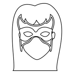 monochrome contour of faceless woman superhero with long hair and mask vector illustration