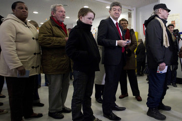 Jean-Luc Melenchon, leader of France's Parti de Gauche political party and the Front de Gauche political party's candidate for the 2012 French presidential election, stands in line to vote in Paris