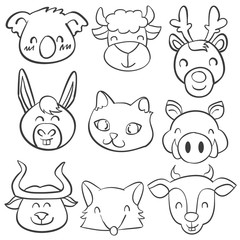 Doodle of head animal hand draw