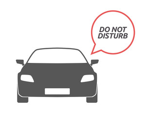 Isolated car with    the text DO NOT DISTURB