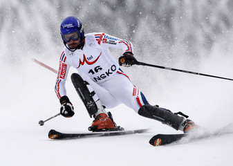Grange of France skis during the slalom portion of men's super combined race at Alpine Skiing World Cup in Bansko