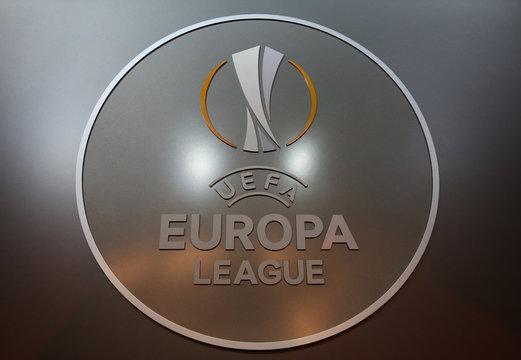 The UEFA Europa League logo is seen before the draw for the 2016/2017 UEFA Europa League soccer competition at Monaco's Grimaldi Forum in Monaco