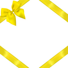 vector yellow realistic bow with ribbons