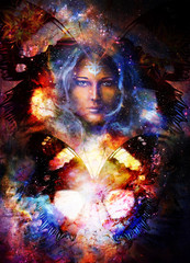 Goddess Woman and butterfly in Cosmic space. Cosmic Space background. eye contact.