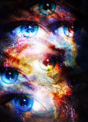 Woman eyes in cosmic background. Painting and graphic design.