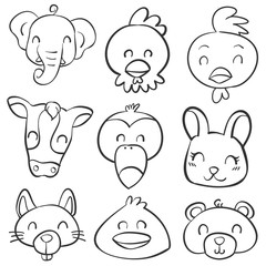 Doodle various animal head style