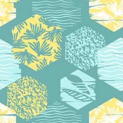 Trendy sea seamless pattern with hand texture and geometric elements.