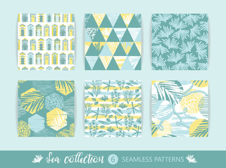 Set of Trendy sea seamless patterns with hand texture and geometric elements