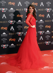 Echevarria poses on the red carpet at the Spanish Film Academy's Goya Awards ceremony in Madrid