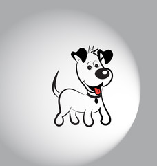 Happy dog silhouette logo vector image