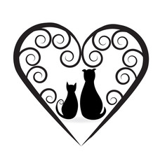 Dog and cat swirly love heart logo