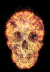 burning human skull, bursted into flames, isolated against the black background
