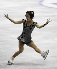 Japan's Akiko Suzuki performs during the ladies' short programme at the World Team Trophy in Figure Skating in Tokyo