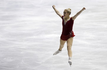 Gold of the U.S. competes during the ladies' short program at the ISU World Team Trophy in Figure Skating in Tokyo