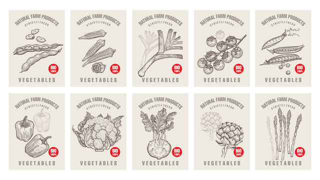 Price tags for vegetables.