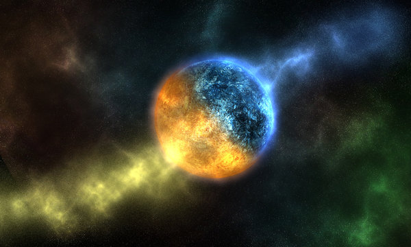 Ice or water and fire planet, yin yang