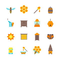 Cartoon Bee Color Icons Set. Vector