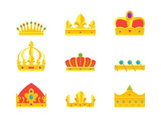 Cartoon Royal Golden Crown Icons Set. Vector