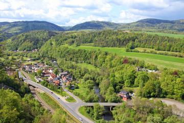 Aussicht, von, Bohlenwand, nach, Obernitz, Gleitsch, Thüringen