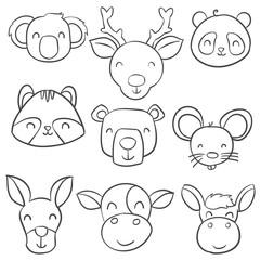 Doodle of animal head hand draw