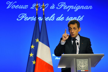 France's President Sarkozy delivers a speech to present his new year wishes to health workers in Perpignan