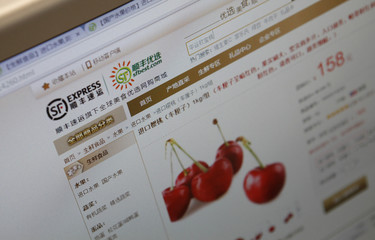 Web page of the Shunfeng First Choice website selling imported cherry is seen on a computer screen in this picture illustration taken in Beijing