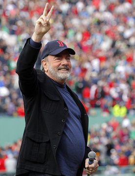 """Singer Neil Diamond sings """"Sweet Caroline""""  during the eighth inning of American League MLB action between the Boston Red Sox and Kansas City Royals at Fenway Park in Boston"""