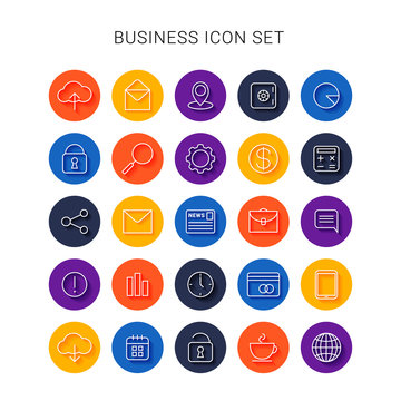 Line business icons. Vector set
