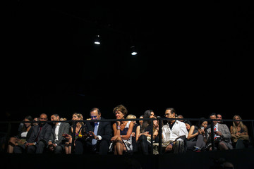 Audience members are seated before the Desigual Spring/Summer 2014 collection during New York Fashion Week
