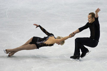 Denney and her partner Barrett skate during the pairs short program at the U.S. Figure Skating Championships in Greensboro