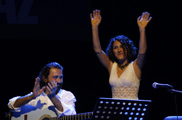 Turkish Kurdish singer Aynur and Limon perform onstage during the 18th Istanbul Jazz Festival in Istanbul