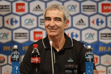 France's coach Raymond Domenech smiles during a news conference in Paris