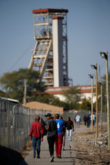 Mine workers are seen at the Northam Platinum's Zondereinde mine in Limpopo province
