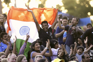 Fans of India's cricket team show their support for their team during the ICC Cricket World Cup 2015 opening event at the Sidney Myer Music Bowl in Melbourne