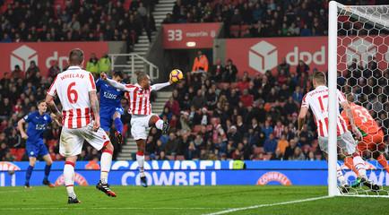 Leicester City's Leonardo Ulloa scores their first goal
