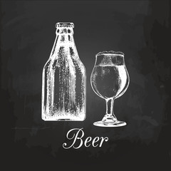 Hand sketched craft beer bottle and glass. Vector lager illustration on chalkboard. Graphic design concept for bar menu.