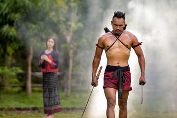 Portrait Ancient warrior man thailand people for background,