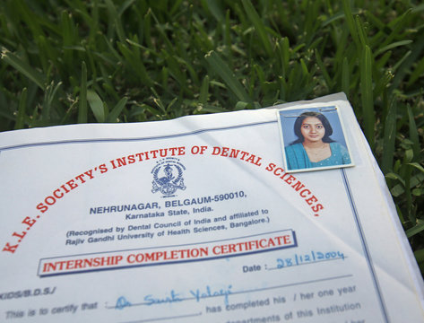 A photo of Savita Halappanavar is seen on an internship completion certificate of her dental college in Belgaum in the southern Indian state of Karnataka