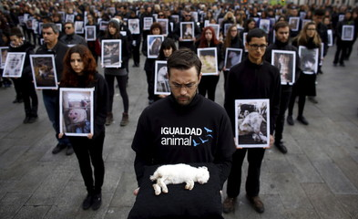 An animal rights activist from Igualdad Animal holds up a dead rabbit during a demonstration in Madrid